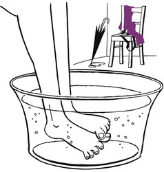 warming up feet in foot pan with water after rain vector image vector image
