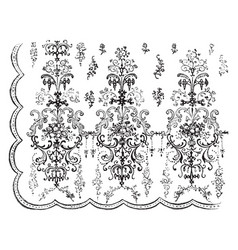 Window curtain is made out of lace vintage vector