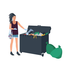 Young woman with dreadlocks picking leftover food vector