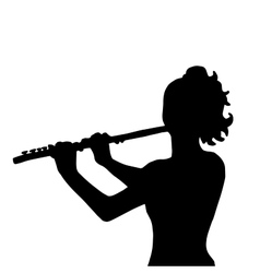 Very high quality of girl with flute vector image