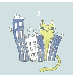 Giant cat watching over city condos vector