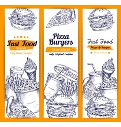 Pizza and burgers fast food sketch banners vector image