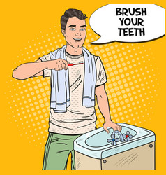 Pop art smiling man brushing teeth in bathroom vector
