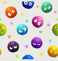 seamless pattern with cute fluffy round characters vector image