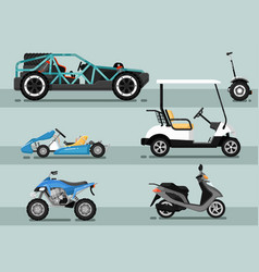 Modern auto vehicle isolated set vector