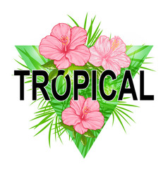 Abstract floral triangle tropical background vector