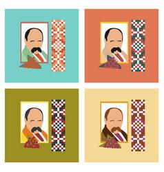 Assembly flat icons education ukrainian portrait vector