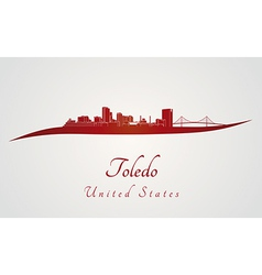 Toledo oh skyline in red vector