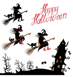 witch sillouette and black cat vector image