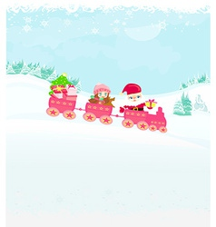 Santa claus with little happy girl christmas train vector