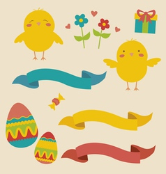 Easter designs with cute chickens vector