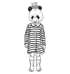 Fashion of cute panda girl kid vector