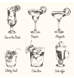 Set cocktail margarita whiskey drawn sketch vector