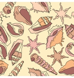 Seamless seashell pattern vector