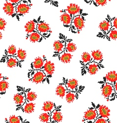 Seamless texture with embroidered poppies vector