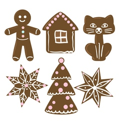collection of christmas cookies vector image