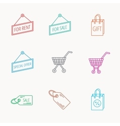 Shopping cart gift bag and sale coupon icons vector