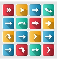 Colorful arrow rounded square icon set vector