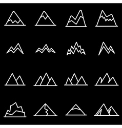 Line mountains icon set vector
