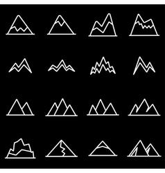 Line mountains icon set vector