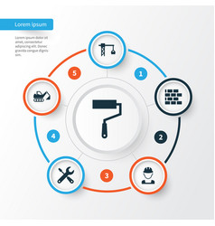 Architecture icons set collection of wall digger vector