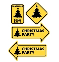 Christmas party humourous yellow road arrow signs vector