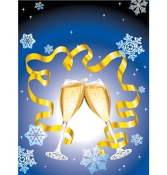 christmas postcard with two glass of champagne vector image