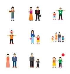 Close relatives icons set flat style vector