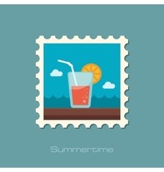 Cocktail flat stamp vector