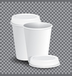 coffee cups on transparency grid - vector image
