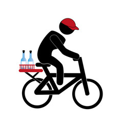 color pictogram with delivery man in bike vector image vector image