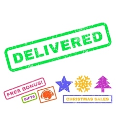 Delivered rubber stamp vector
