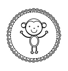 Figure emblem with monkey inside icon vector