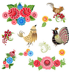fine collection of fancy decorative birds and vector image