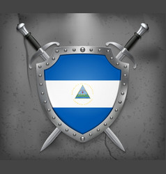 Flag of nicaragua medieval background vector