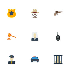 Flat icons jail revolver walkie-talkie and other vector