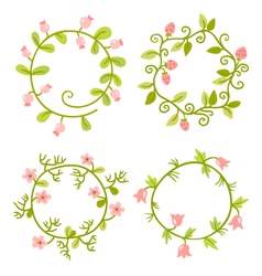 Floral Frames set Cute retro flowers wreath vector image vector image