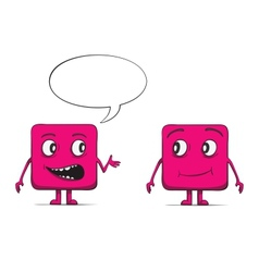 Funny cube dudes talking square characters vector