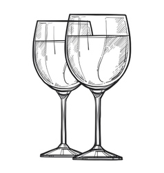 Glass of wine freehand pencil drawing vector image