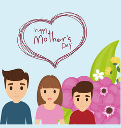 Happy mothers day family celebration flower vector