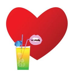 heart with drink in red vector image