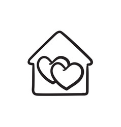 house with hearts sketch ico vector image