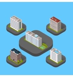 Isometric Building Set Isolated vector image vector image