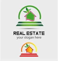 Leaf eco home sign house logo vector