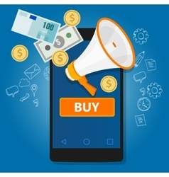 mobile payment click to buy online transaction vector image vector image