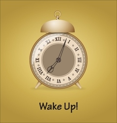 Old alarm clock isolated on gold background vector