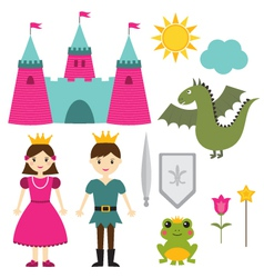 Princess and prince set vector