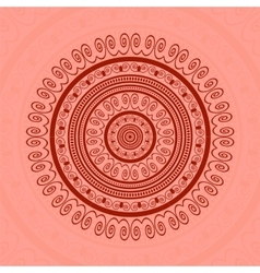 Red circle lace ornament vector