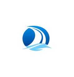 sail boat ocean logo vector image