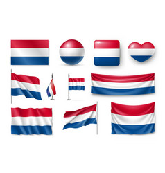 set netherland flags banners banners symbols vector image vector image